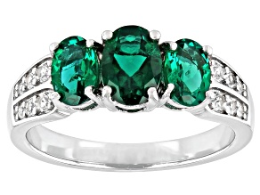 Green Lab Created Emerald Rhodium Over Silver Ring 1.36ctw