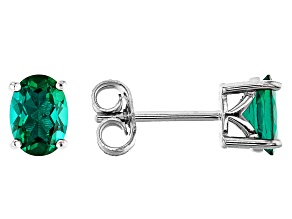 Oval Lab Created Emerald Rhodium Over Sterling Silver Solitaire Stud Earrings