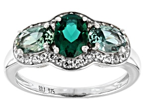 Green Lab Created Emerald Rhodium Over Silver Ring 1.89ctw