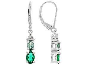 Green Lab Created Emerald Rhodium Over Silver Earrings 1.20ctw