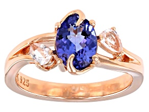 Blue Tanzanite 18k Rose Gold Over Sterling Silver Ring 1.32ctw