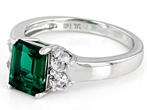 Green Lab Created Emerald Rhodium Over Silver Ring 1.62ctw