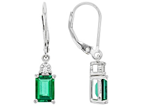 Green Lab Created Emerald Rhodium Over Silver Earrings 1.62ctw