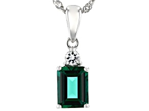 Green Lab Created Emerald Rhodium Over Silver Pendant With Chain 1.24ctw