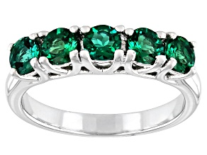 Green Lab Created Emerald Rhodium Over Sterling Silver Ring 1.02ctw