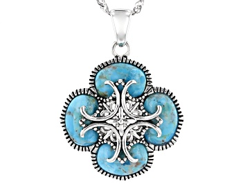 Picture of Blue Turquoise Sterling Silver Pendant With Chain 6.80ctw