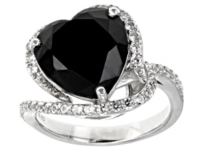 Heart Shape Black Spinel Rhodium Over Silver Ring 6.66ctw