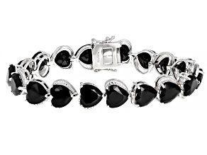 Black Spinel Rhodium Over Sterling Silver Bracelet 47.22ctw