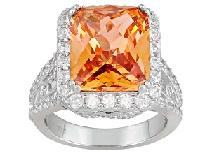 Womens Cocktail Ring Champagne Color White Cubic Zirconia 12ctw Silver