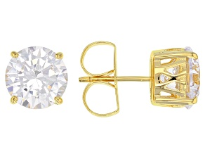 Cubic Zirconia 18K Yellow Gold Over Silver Stud Earrings 9.60ctw