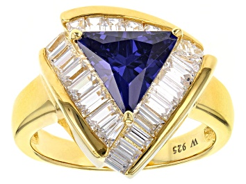 Picture of Blue And White Cubic Zirconia 18k Yellow Gold Over Silver Ring 5.72ctw