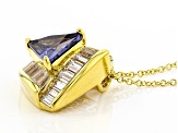 Blue & White Cubic Zirconia 18k Yellow Gold Over Sterling Silver Pendant With Chain 6.60ctw