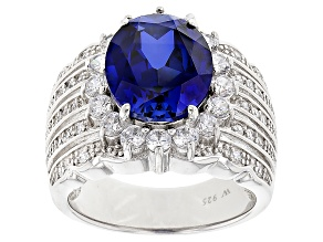 Lab Created Sapphire And Cubic Zirconia Rhodium Over Sterling Silver Ring 7.35ctw