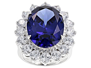 Blue And White Cubic Zirconia Rhodium Over Sterling Silver Ring 27.20ctw