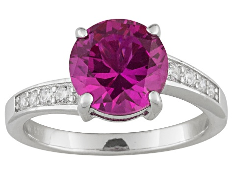 Lab Created Pink Sapphire And White Diamond Simulant 3.72ctw