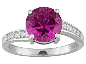 Lab Created Pink Sapphire And White Diamond Simulant 3.72ctw