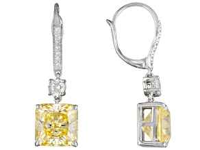Charles Winston For Bella Luce ® 17.14ctw Canary & White Diamond Simulant Silver Earrings