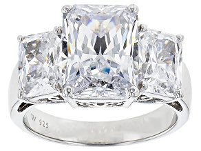 White Cubic Zirconia Scintillant Cut Rhodium Over Silver Ring 13.60ctw