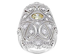 Yellow And White Cubic Zirconia Sterling Silver Cocktail Ring 3.07ctw