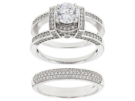 White Cubic Zirconia Sterling Silver Bridal Set 4.96ctw