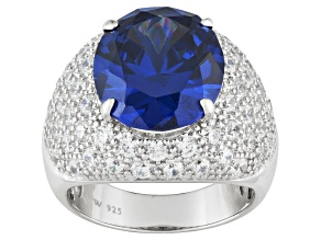 Blue And White Cubic Zirconia Sterling Silver Cocktail Ring 17.28ctw