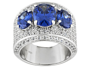 Blue And White Cubic Zirconia Sterling Silver Ring 12.46ctw