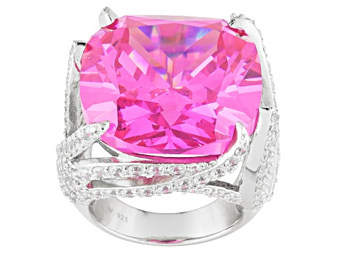 Pink And White Cubic Zirconia Sterling Silver Cocktail Ring 32.32ctw