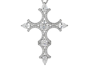 White Cubic Zirconia Sterling Silver Cross Pendant 6.56ctw