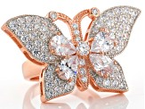 White Cubic Zirconia 18k Rose Gold Over Silver Butterfly Ring 7.71ctw