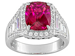 Synthetic Ruby And White Cubic Zirconia Silver Ring 11.74ctw