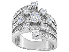 White Cubic Zirconia  Sterling Silver Ring 3.20ctw