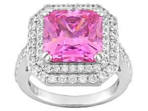 Pink And White Cubic Zirconia  Sterling Silver Ring 10.00ctw