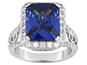 Blue And White Cubic Zirconia  Sterling Silver Ring 11.94ctw