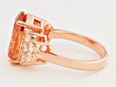 Brown And White Cubic Zirconia 18k Rose Gold Over Silver Ring 7.50ctw