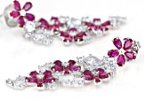 Lab Created Ruby And White Cubic Zirconia Silver Earrings 25.72ctw