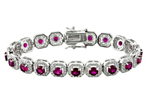 Lab Created Ruby And White Cubic Zirconia Silver Bracelet 19.36ctw