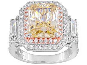 Yellow And White Cubic Zirconia Silver Ring 11.26ctw
