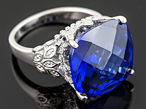 Blue And White Cubic Zirconia Silver Ring 30.00ctw