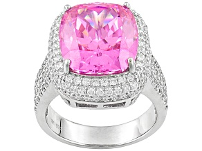 Pink And White Cubic Zirconia Rhodium Over Sterling Silver Ring 17.52ctw