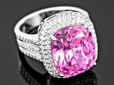 Pink And White Cubic Zirconia Sterling Silver Ring 17.52ctw