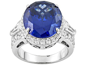 Blue And White Cubic Zirconia Rhodium Over Sterling Silver Ring 17.71ctw