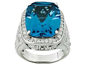 Blue Lab Created Spinel And White Cubic Zirconia Silver Ring 14.84ctw