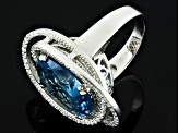 Blue And White Cubic Zirconia Silver Ring 11.00ctw