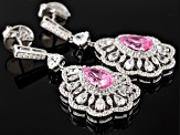 Pink And White Cubic Zirconia Silver Earrings 16.72ctw