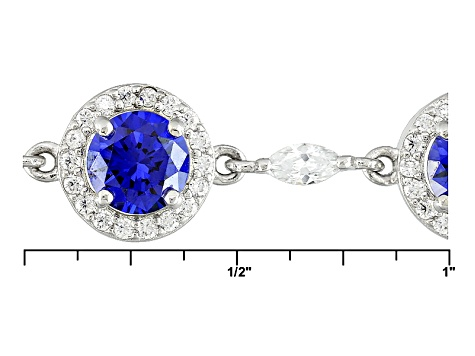 Blue And White Cubic Zirconia Silver Bracelet 18.80ctw