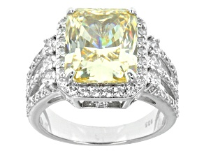 Yellow And White Cubic Zirconia Rhodium Over Sterling Silver Ring 13.47ctw