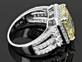 Yellow And White Cubic Zirconia Scintillant Cut Rhodium Over Sterling Silver Ring 13.47ctw