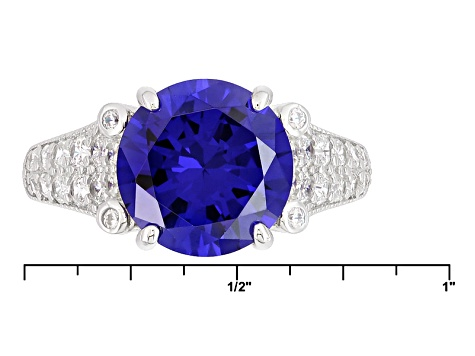 Blue And White Cubic Zirconia Rhodium Over Silver Ring 7.58ctw