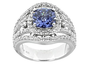 Blue And White Cubic Zirconia Silver Ring 6.14ctw