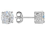 Cubic Zirconia Sterling Silver Stud Earrings 3.50ctw
